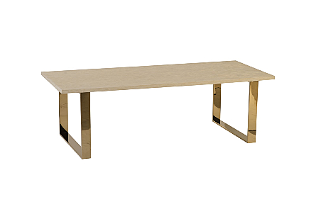Atlantic Dining Table Plated Brass Legs, Bone