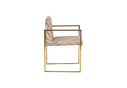 Frozen Arm Chair Beige Zebra, Plated Brass Frame