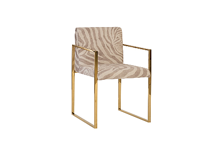 angled view of the Phillips Collection Frozen Zebra Brass Arm Chair a contemporary chair with a zebra-print upholstery fabric and a plated-brass frame