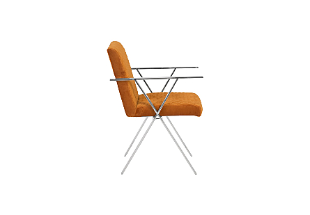 Allure Dining Chair Quilted Orange, Stainless Steel Frame