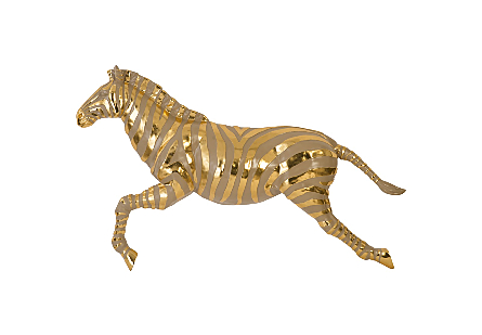 Zebra Illuminated Wall Art LED, Gold, Left Facing