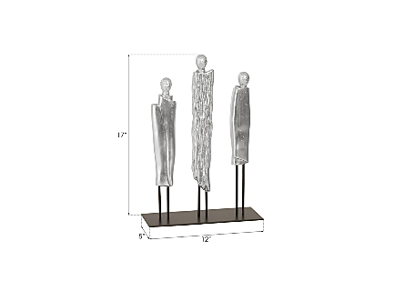 Robed Monk Trio Sculpture Silver Leaf