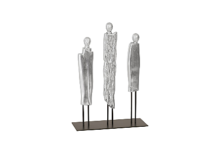 Robed Monk Trio Sculpture Silver