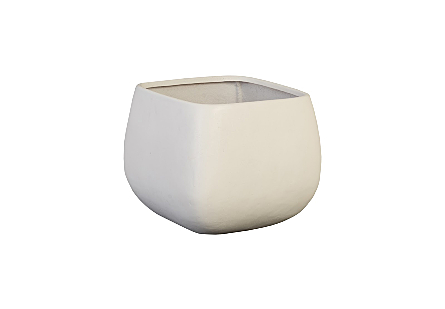 angled view of Phillips Collection's Ava Large Planter a garden planter made of composite in a creamy finish with contemporary tailored lines