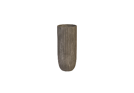 front view of the Lourdes Medium Planter by Phillips Collection a light-weight gray garden planter made of composite in an aged textural finish