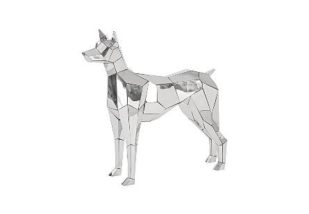 front angled view of the Crazy Cut Dog Sculpture by Phillips Collection made of composite and stainless steel in a brilliant silver finish