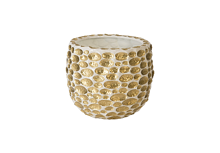 Bubbles Planter Brass, White, LG