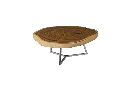 Captured Edge Coffee Table, Round Natural Finish w/ Stainless Steel Base, Glossy