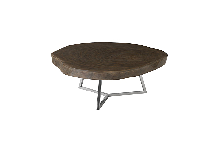 Captured Edge Coffee Table, Round Grey Stone Finish w/ Stainless Steel Base, Glossy
