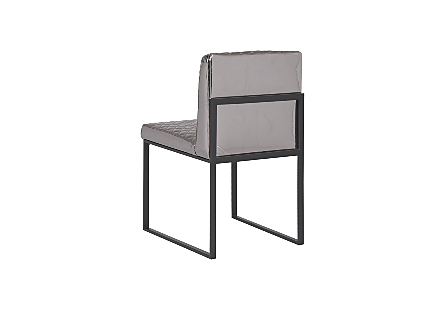 Frozen Dining Chair Quilted Platinum Fabric, Matte Black Metal Frame