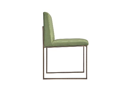 Frozen Dining Chair Green Velvet Fabric, Industrial Silver Metal Frame