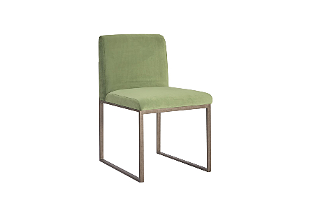 angled view of the Phillips Collection Frozen Green Silver Dining Chair a modern chair with a green velvet upholstery fabric and industrial-silver frame