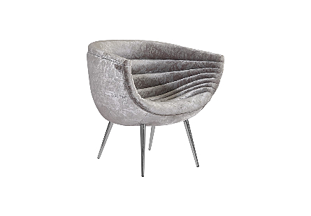 Nouveau Club Chair Gray Crushed Velvet Fabric, Stainless Steel Legs