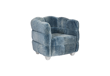 Cloud Club Chair Distressed Blue Fabric, Stainless Steel Legs