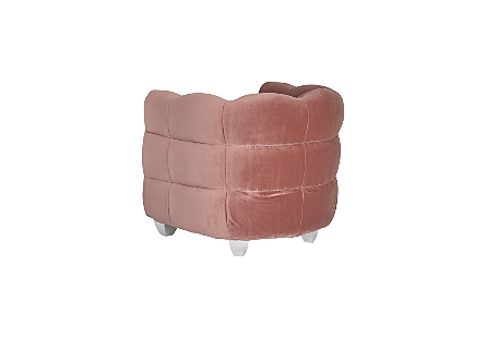 Cloud Club Chair Coral Pink Fabric, Stainless Steel Legs