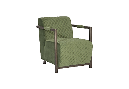 Amity Club Chair Quilted Green Fabric, Industrial Silver Metal Frame