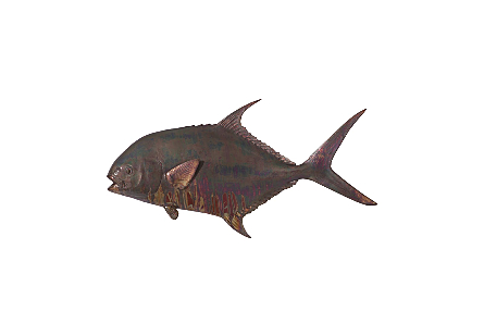 front view of the Phillips Collection Permit Fish Maroon Wall Sculpture a fish wall sculpture made of composite in a copper patina finish