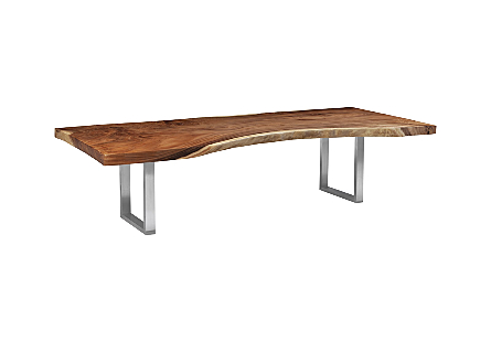 Origins Dining Table, Live Edge Natural, Brushed Stainless Steel Legs