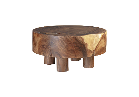 Chamcha Wood Coffee Table Round, Wood Legs