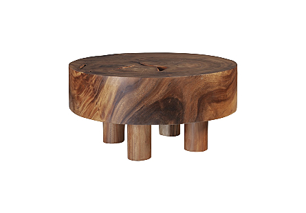Chamcha Wood Coffee Table Round, Wood Legs