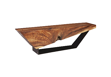 Phillips Collection Slant Wood Bench has a reclaimed chamcha wood seat and an angular black metal base in an opposing slant