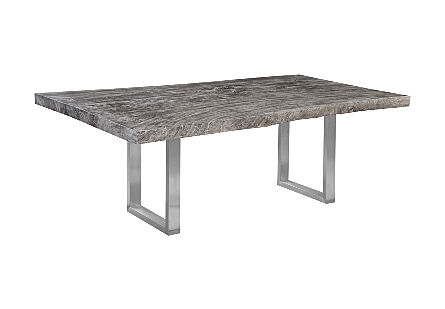 Origins Dining Table, Live Edge, Gray Stone Brushed Stainless Steel Legs