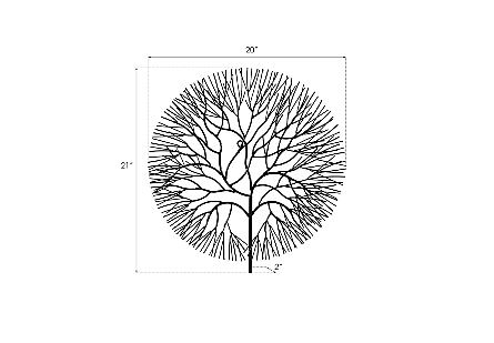 Wire Tree Wall Art Small, Circle, Metal, Black