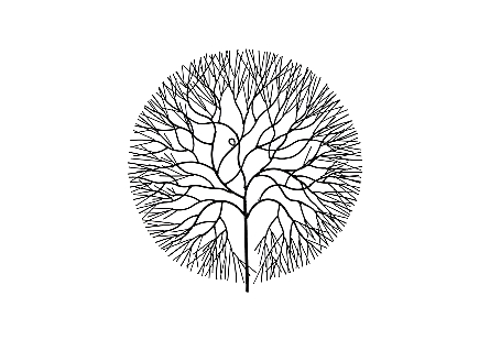 Wire Tree Wall Art Circle, Metal, Black, MD