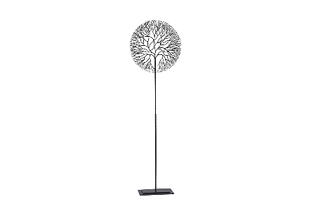 Wire Tree Sculpture Circle, Metal, Black