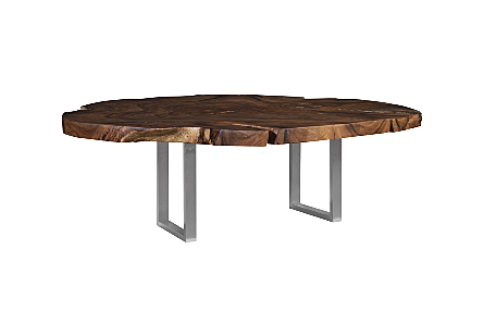 Origins Dining Table, Round, Natural, Brushed Stainless Steel Legs