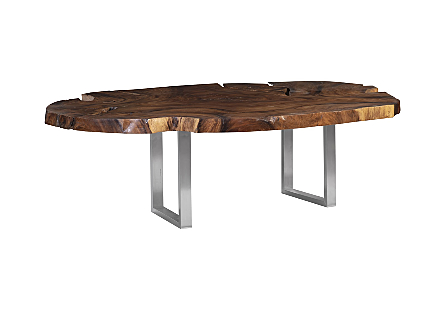 Origins Dining Table, Freeform, Natural, Brushed Stainless Steel Legs