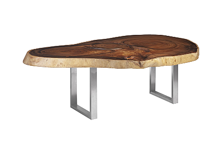 Chamcha Wood Round Dining Table Freeform, Brushed Stainless Steel Legs