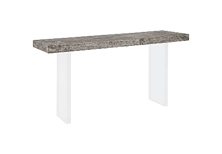 Floating Chamcha Wood Console Table Gray Stone Finish, Acrylic Legs