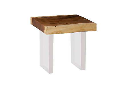 Floating Chamcha Wood Side Table Natural, Acrylic Legs
