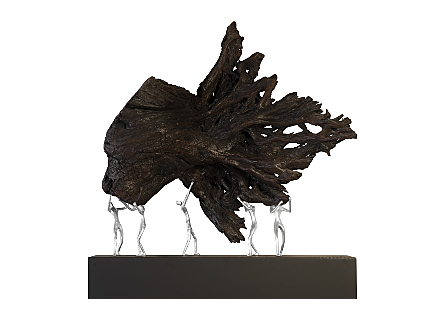 Atlas Shrugged Sculpture on Stand Teak Wood/Iron, Silver