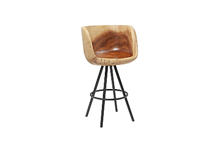 Smoothed Bar Chair Chamcha Wood, Natural, Metal, Black