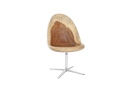 Smoothed Swivel Chair Chamcha Wood, Stainless Steel Base