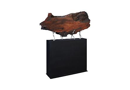 Atlas Sculpture on Stand Teak Wood/Iron, Silver