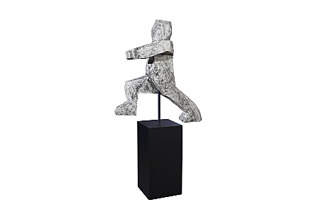 Running Man Sculpture on Base Grey Stone