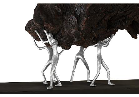 Atlaas Shrugged Sculpture on Stand Teak Wood/Iron, Silver
