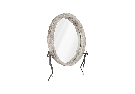 Atlas Mirror Chamcha Wood, Grey Stone Finish, Metal