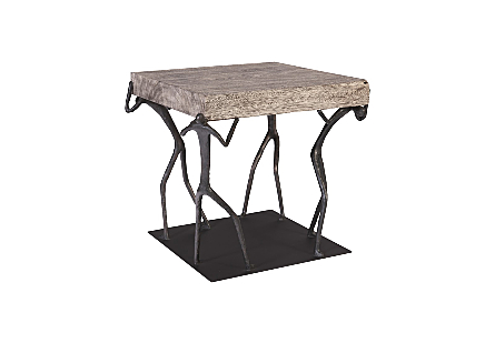 Atlas Side Table Chamcha Wood, Grey Stone Finish, Metal