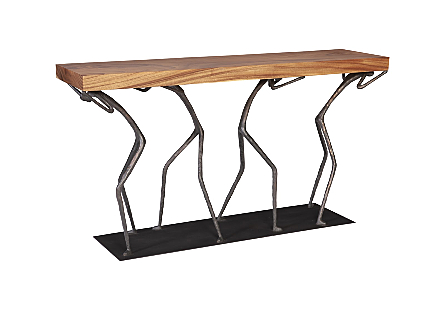 Atlas Console Table Chamcha Wood, Natural, Metal