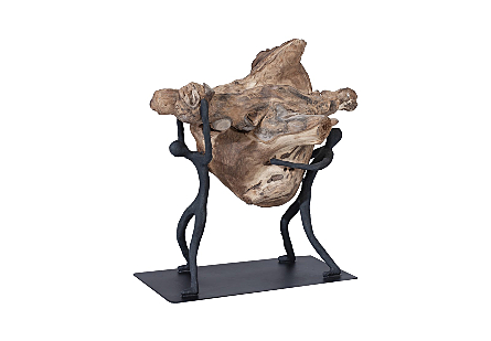 the Atlas Lifting Wood Sculpture by Phillips Collection a decorative accessory with a sculptural silver figures holding a chunk of wood