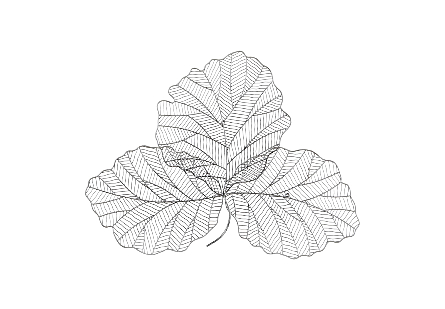 Tri Leaf Wall Art Small, Metal, Silver/Black