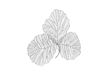 Tri Leaf Wall Art Medum, Metal, Silver/Black
