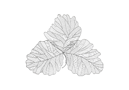 Tri Leaf Wall Art Large, Metal, Silver/Black