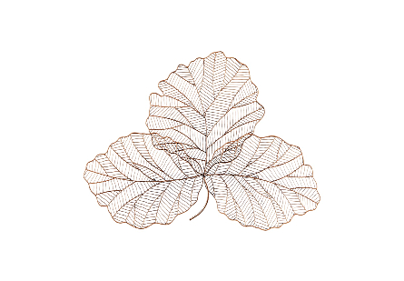Tri Leaf Wall Art Small, Metal, Copper/Black