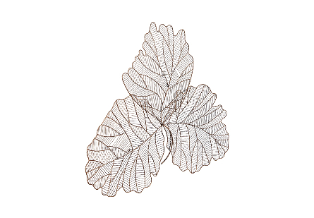 Tri Leaf Wall Art Large, Metal, Copper/Black