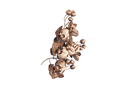 Orchid Sprig Wall Art Medium, Metal, Copper/Black